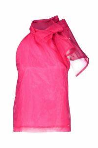 Womens Organza Pussybow Sleeveless Blouse - Pink - 14, Pink