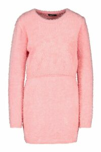 Womens Fluffy Knit Skirt Set - Pink - M, Pink