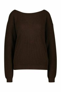 Womens V-Back Oversized Jumper - brown - M, Brown