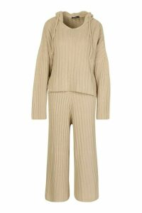 Womens Rib Knit Hooded Lounge Set - beige - M, Beige