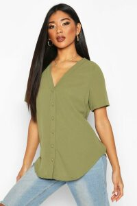 Womens Short Sleeve Button Through Blouse - green - 14, Green