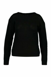 Womens Plus Waffle Crew Neck Jumper - black - 20, Black