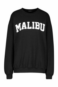 Womens Petite 'Malibu' Slogan Sweat Top - black - M, Black