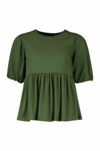 Womens Petite Ribbed Puff Sleeve Smock Top - green - 8, Green