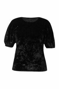 Womens Plus Puff Sleeve Crushed Velvet Top - black - 26, Black