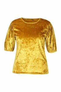 Womens Plus Puff Sleeve Crushed Velvet Top - yellow - 20, Yellow