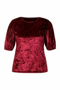 Womens Plus Puff Sleeve Crushed Velvet Top - red - 28, Red