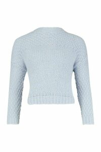 Womens Petite Premium Soft Fisherman Knit Jumper - blue - M, Blue