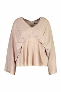Womens Plus Kimono Sleeve Pleated Blouse - pink - 22, Pink