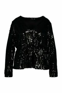 Womens Plus Sequin Wrap Peplum Top - black - 20, Black