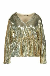 Womens Plus Sequin Wrap Peplum Top - metallics - 20, Metallics