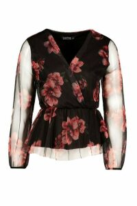 Womens Floral Organza Wrap Top - black - 16, Black