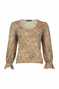 Womens Paisley Print Blouse - yellow - 12, Yellow