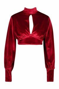 Womens Velvet Key Hole Volume Sleeve Crop Top - red - 16, Red