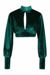 Womens Velvet Key Hole Volume Sleeve Crop Top - green - 12, Green