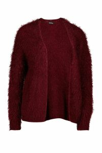 Womens Feather Knit Cardigan - red - M, Red