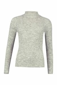 Womens Roll Neck Panel Rib Knit Jumper - silver grey - M, Silver Grey