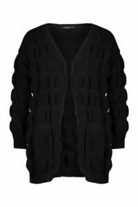 Womens Bubble Knit Edge To Edge Cardigan - black - L, Black