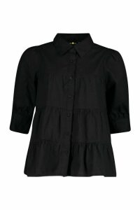 Womens Tiered Shirt - black - 12, Black