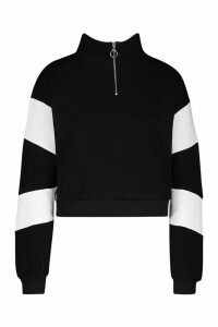 Womens Half Zip Colour Block Crop Sweatshirt - black - 14, Black