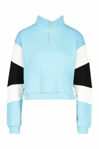 Womens Half Zip Colour Block Crop Sweatshirt - blue - 14, Blue