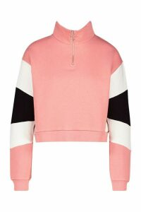 Womens Half Zip Colour Block Crop Sweatshirt - pink - 14, Pink