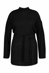 Womens Plus Belted High Neck Jumper - black - 20, Black