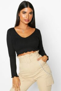 Womens Petite Lettuce Hem V-Neck Long Sleeve Crop Top - black - 14, Black