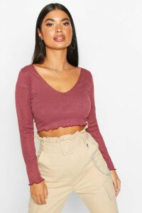 Womens Petite Lettuce Hem V-Neck Long Sleeve Crop Top - red - 14, Red