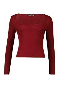 Womens Square Neck Long Sleeve Top - red - 10, Red