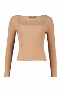 Womens Square Neck Long Sleeve Top - beige - 6, Beige