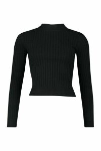 Womens Soft Ribbed roll/polo neck Jumper - black - M, Black