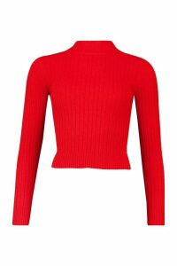 Womens Soft Ribbed roll/polo neck Jumper - red - XS, Red