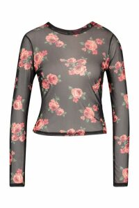 Womens Floral Mesh Crew Neck Top - black - 14, Black