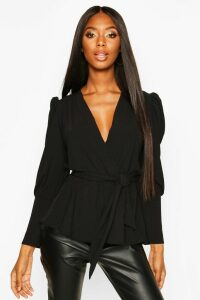 Womens Puff Sleeve Wrap Blouse - black - 16, Black
