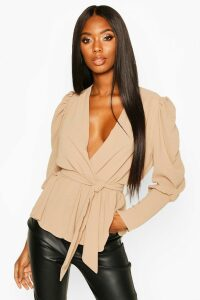 Womens Puff Sleeve Wrap Blouse - beige - 8, Beige