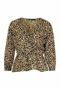 Womens Leopard Print Wrap Peplum Top - brown - 12, Brown