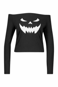 Womens Halloween Face Print Off The Shoulder Top - black - M, Black