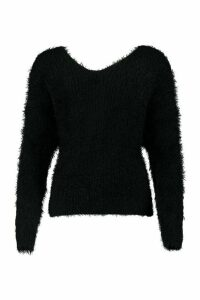 Womens Oversized Twist Knot Back Feather Knit Jumper - black - M/L, Black