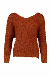 Womens Oversized Twist Knot Back Feather Knit Jumper - brown - M/L, Brown