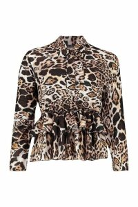 Womens Leopard Woven Pussy Bow Blouse - black - 10, Black