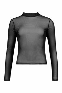 Womens Mesh roll/polo neck Top - black - 12, Black