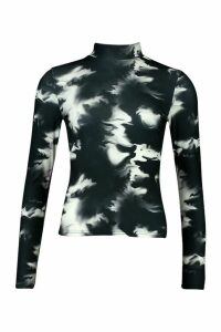 Womens Tie Dye Rib Turtleneck Top - black - 14, Black