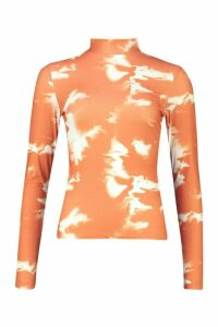 Womens Tie Dye Rib Turtleneck Top - orange - 14, Orange