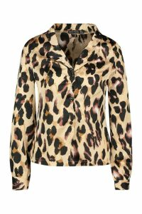 Womens Leopard Satin Shirt - multi - 16, Multi