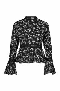 Womens Woven Floral High Neck Peplum Top - black - 10, Black