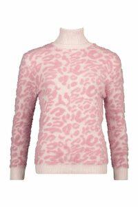 Womens High Neck Fluffy Jumper - Pink - L, Pink