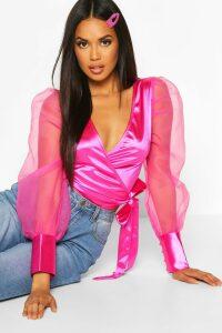 Womens Organza Puff Sleeve Wrap Top - Pink - 16, Pink