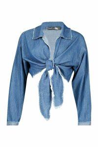 Womens Tie Front Denim Shirt - blue - 12, Blue