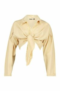 Womens Tie Front Denim Shirt - beige - 16, Beige